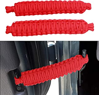 VOFONO 2 PCS red 550 Paracord Adjustable Door Strap for Jeep Wrangler CJ JK JKU TJ YJ (red)