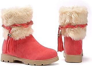 Susanny Women's Fashion Warm Short Booties Outdoor Suede Flat Waterproof Faux Fur Snow Boots