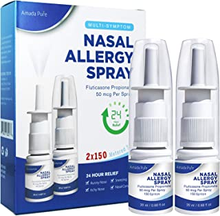 Amada Pure Allergy Relief Nasal Spray, Fast Acting, Provides Relief for Allergy Symptoms Including Nasal Congestion, Sneezing, Runny Nose, Itchy Nose, 24 Hour Non-Drowsy, 300 Sprays (Pack of 2)