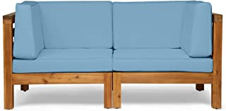 Great Deal Furniture Dawson Outdoor Sectional Loveseat Set - 2-Seater - Acacia Wood - Outdoor Cushions - Teak and Blue