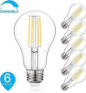 Dimmable LED Light Bulbs, 100W Equivalent Filament Edison Bulbs, A21 Vintage LED Blubs Daylight White, Medium Screw Base (E26), 1100 Lumens, 6-Pack (5000K)