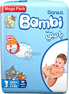 Sanita Bambi Size 3, Medium, 5-9 kg, Mega Pack - 92 Count, Pack of 1