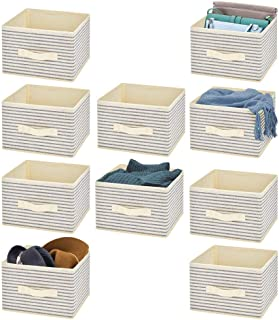 mDesign Soft Fabric Closet Storage Organizer Holder Cube Bin Box, Open Top, Front Handle for Closet, Bedroom, Bathroom, Entryway, Office - Textured Print, 10 Pack - Natural/Cobalt Blue