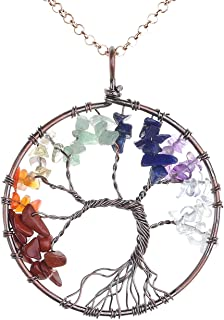 Top Plaza 7 Chakra Healing Crystals Necklace Tree of Life Bronze Copper Wire Wrapped Pendant Necklaces Reiki Quartz Jewelry for Womens