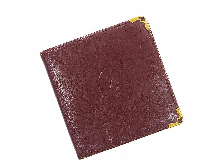 差し引く精査吸い込む[カルティエ] Cartier 二つ折り財布 レザー X10127 中古