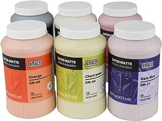 AMACO Satin Matte Glaze Classroom Pack 1, Assorted Colors, Set of 6 Pints