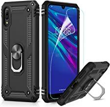 LeYi Custodia Huawei Y6 2019 / Honor 8A Cover, 360° Girevole Regolabile Ring Armor Bumper TPU Case Supporto Smartphone Silicone Custodie con Pellicola per Huawei Y6 2019/ Honor 8A Case Nero