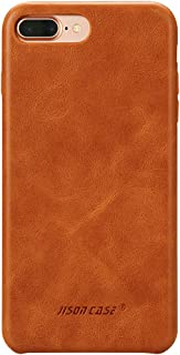 iPhone 8 Plus Leather Case, iPhone 7 Plus Case, Jisoncase Slim Back Cover Snap Grip Case for Apple iPhone 7 Plus / 8 Plus 5.5 inches, Brown (TC-I8L-04A20)