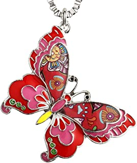 Colorful Butterfly Necklaces & Pendants for Women Insect Jewelry Gift
