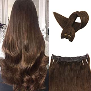 Fshine 18 Inch Silky Straight 80 Gram Halo In Hair Extensions Brown Layered Hair Color 4 Medium Brown Hair Extensions Invisible Halo Human Hair Extensions Fish Line Hair Invisible Hair Extensions
