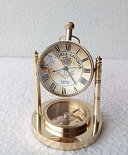 Solid Brass Clock With Compass Home decor Nautical decor Desk Top Clock