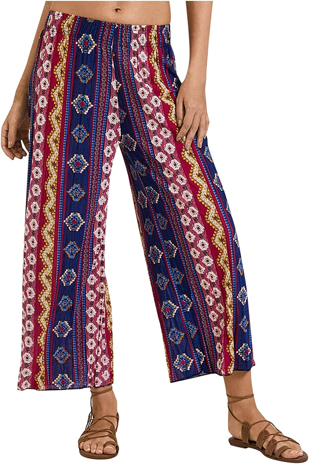 LINGERY Women's High Waist Loose Striped Printed Wide Leg Pants Casual Trousers GL-1