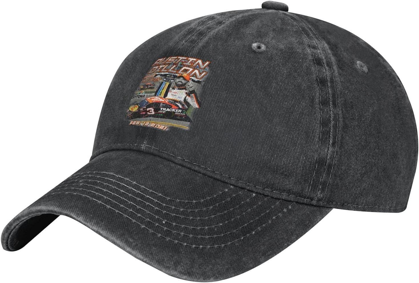GAiNViEW Austin Dillon 2021 Denim Cap Adjustable Plain Baseball Cowboy Hat Cotton Sunbonnet Plain Hat Black