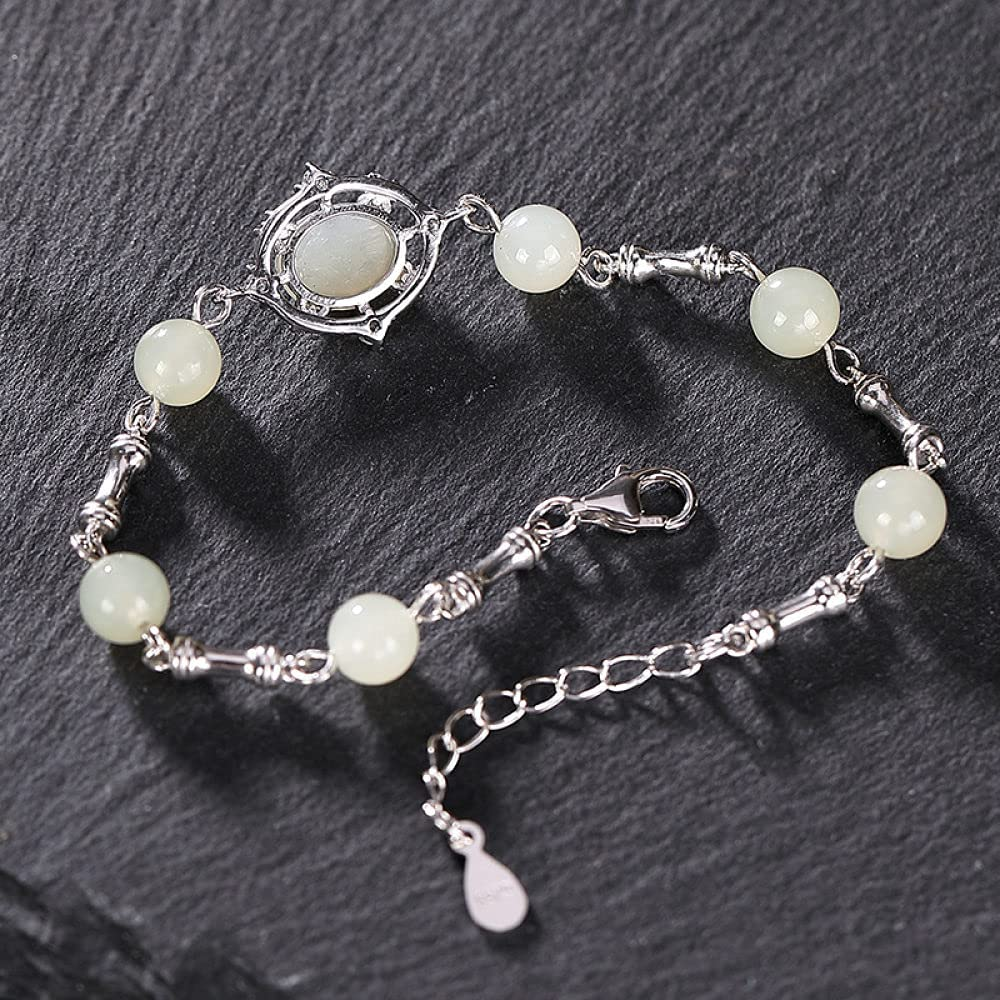 925 mart Sterling Silver Bracelet Vintage Women for 25% OFF Jad Simple Hetian