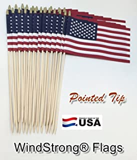 Lot of -24-8x12 Inch US American Hand Held Stick Gravemarker Flags WindStrong with Spear Tip 24 Inch Pointed Bottom Dowel Made in the USA