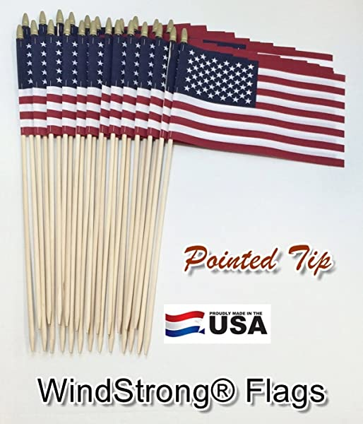 Lot Of 24 8x12 Inch US American Hand Held Stick Gravemarker Flags WindStrong With Spear Tip 24 Inch Pointed Bottom Dowel Made In The USA