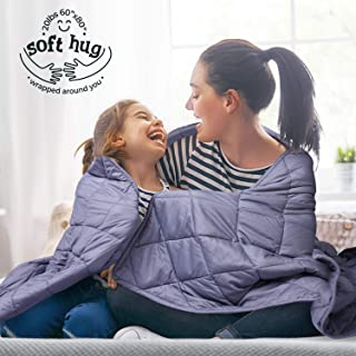 MOOKA Weighted Blanket 20 lbs for Adult, Skin-friendly 100% Breathable Cotton Adults Weighted Blanket Queen Size 160-280 lbs, 60