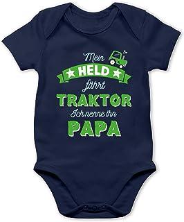 Shirtracer Vatertagsgeschenk Tochter & Sohn Baby - Mein Held fährt Traktor Papa - Baby Body Kurzarm für Jungen und Mädchen