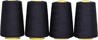 Mandala Crafts All Purpose Sewing Thread from Polyester for Serger, Overlock, Quilting, Sewing Machine (4 Cones 6000 Yards Each,Black)