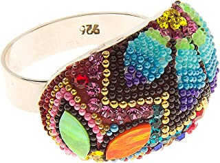 .925 Sterling Silver Ring, Bohemian style multicolor, Style 8