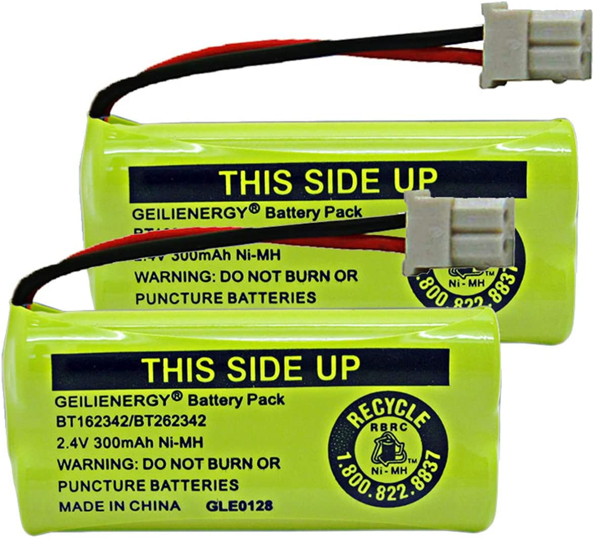GEILIENERGY 2.4V 300mAh Battery Compatible with AT&T BT162342 BT-162342 BT166342 BT-166342 BT266342 BT-266342 BT183342 BT-183342 BT283342 BT-283342 CS6719-2 Cordless Phone(Pack of 2)