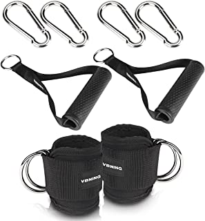 VBNING Gym Resistance Bands Handles with Clips and Ankle Straps for Cable Machines — Gym Accessories for Glute Workouts, L...