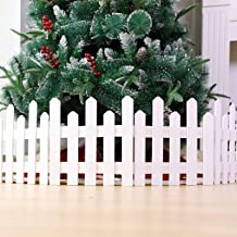 Christmas Tree Fences, Christmas Decorative Wooden Picket Fence, Miniature Picket Fencing for Home, Garden, Party(White)