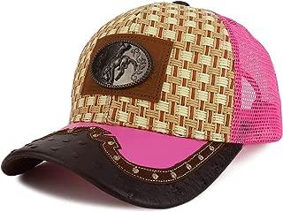 Trendy Apparel Shop Straw Design Metallic Rodeo Cowboy Horse Metal Logo Trucker Mesh Baseball Cap