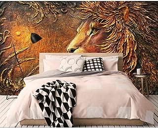 XIXISA Wallpaper Embossed Golden Lion TV Background Wall Living Room Bedroom Background Wall murals Wallpaper 250x160cm