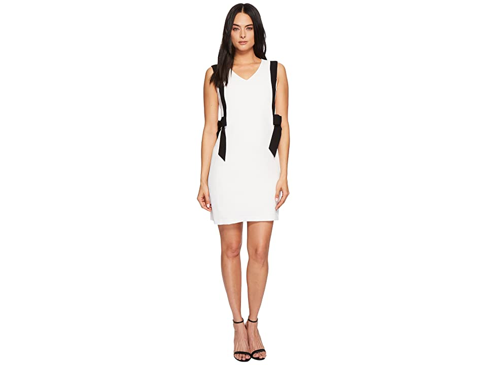CeCe Color Blocked V-Neck Dress w/ Bows (Antique White) Women