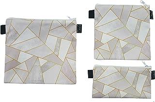 Art of Lunch Designer Lunch Baggies for Men & Women, Boys & Girls, Fashionable, Reusable, Snack & Sandwich Bags w Zipper - Design by Elisabeth Fredriksson (Sweden) - White Stone