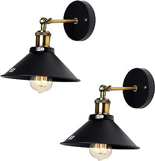 U'Artlines Lot de 2 Lampe Applique Murale Métal Style Parapluie Rétro Industrielle Eclairage Suspension Luminaire E27