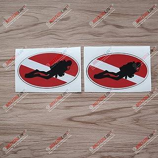 3S MOTORLINE 2X Reflective 4'' Scuba Diver Oval Flag Diving Decal Sticker Vinyl
