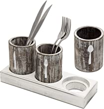 MyGift Rustic Torched Wood Restaurant/Home Dining Table Flatware Silverware Cutlery Caddy, Party Utensils Holder Organizer