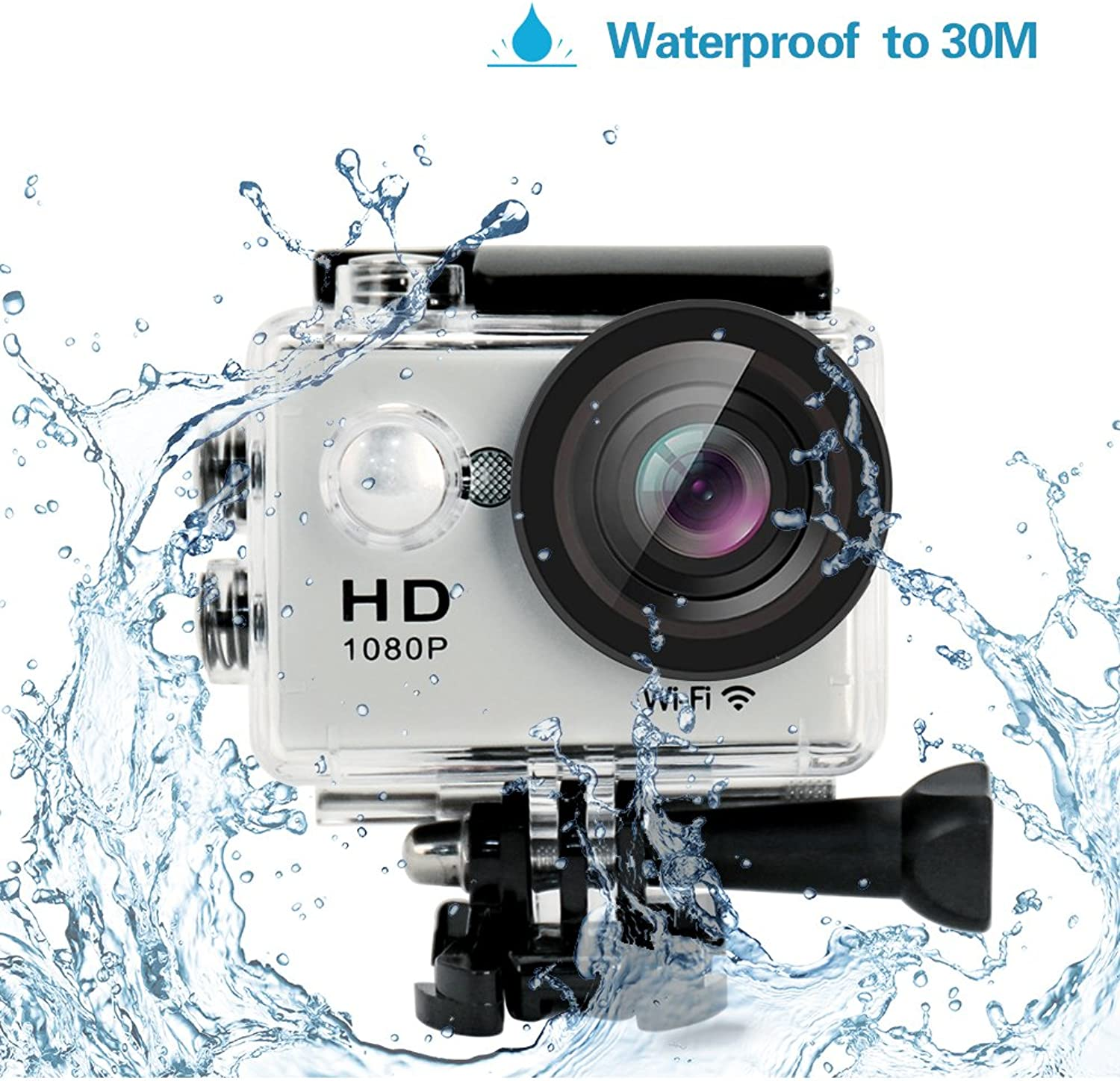 Yuntab W9 HD 1080P 30fps 12 Mega Pixels H.264 Sport Mini DV Action Camera 2.0  LCD 170° Wide Angle Lens 30M Waterproof WiFi Remote Control Outdoor Sports Home Security DV CAR DVR Camera FPV supported,AV output supported(Silver)