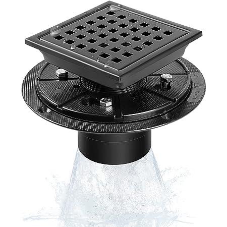 Shower Drain, MIRAFIT 4 Inch Square Shower Drain with Flange, Black Shower Drain Kit, SUS304 Stainless Steel Brushed Shower Floor Drain, Matte Black