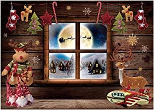 Funnytree 7x5FT Christmas Night Window Photography Backdrop Xmas Village Toy Party Decoration Winter Children Background Photo Booth