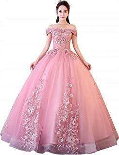 Women's Sweet 16 Quinceanera Dresses Off Shoulder Lace Tulle Long Prom Ball Gowns Plus Size