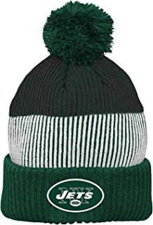 NFL New York Jets Youth  Outerstuff Team Stripe Cuff Pom Hat, Team Color , Youth One Size
