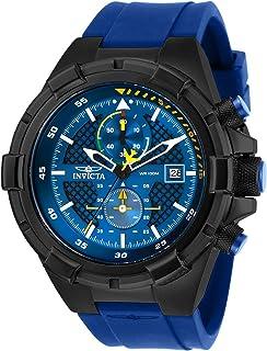 Invicta Men's Aviator Stainless Steel Quartz Silicone Strap, Blue, 26 Casual Watch (Model: 28092