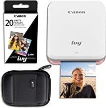 Canon Ivy Mini Wireless Photo Printer (Rose Gold) with 20 Prints and Carrying Case