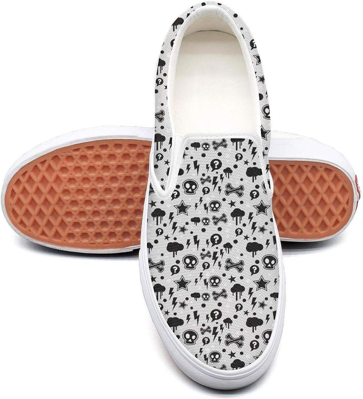 Skull Lightning Slip On Superior Comfort Loafers Canvas shoes for Women Comfortable