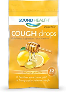 SoundHealth Cough Drops, Cough Suppressant Throat Lozenge, Honey Lemon Flavor, 30 Count Bag