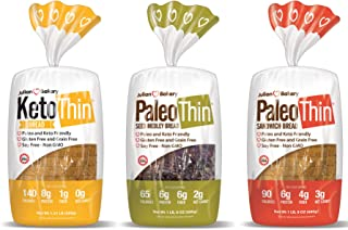 Keto   Paleo Thin   Bread (Variety) Low Carb, Gluten-Free, Grain-Free (from 0 Net Carbs) (3 Pack)