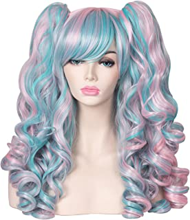 ColorGround Long Curly Cosplay Wig with 2 Ponytails(Pink/Blue)