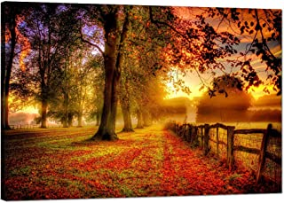 Landscape Beautiful Autumn Forest Sunset by the Small Lake Wall Art Painting on Canvas for Living room Prints Pictures Modern Home Decorative Set Framed Ready to Hang for Wall(36''W x 24''H)