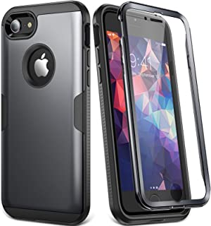 YOUMAKER Designed for iPhone 8 Case & iPhone 7 Case, Full Body Rugged with Built-in Screen Protector Heavy Duty Protection Slim Fit Shockproof Cover for Apple iPhone 8 (2017) 4.7 Inch - Black