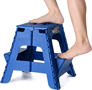 Acko 2-in-1 Dual Purpose Folding Step Stool Two Step Ladder Durable Plastic Folding Stool with Pedal Easy Storage 15 Inches Height 300 lbs Capability Blue
