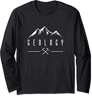 Geology Crossed Pickaxes Geologist Mountain Rockhound Long Sleeve T-Shirt