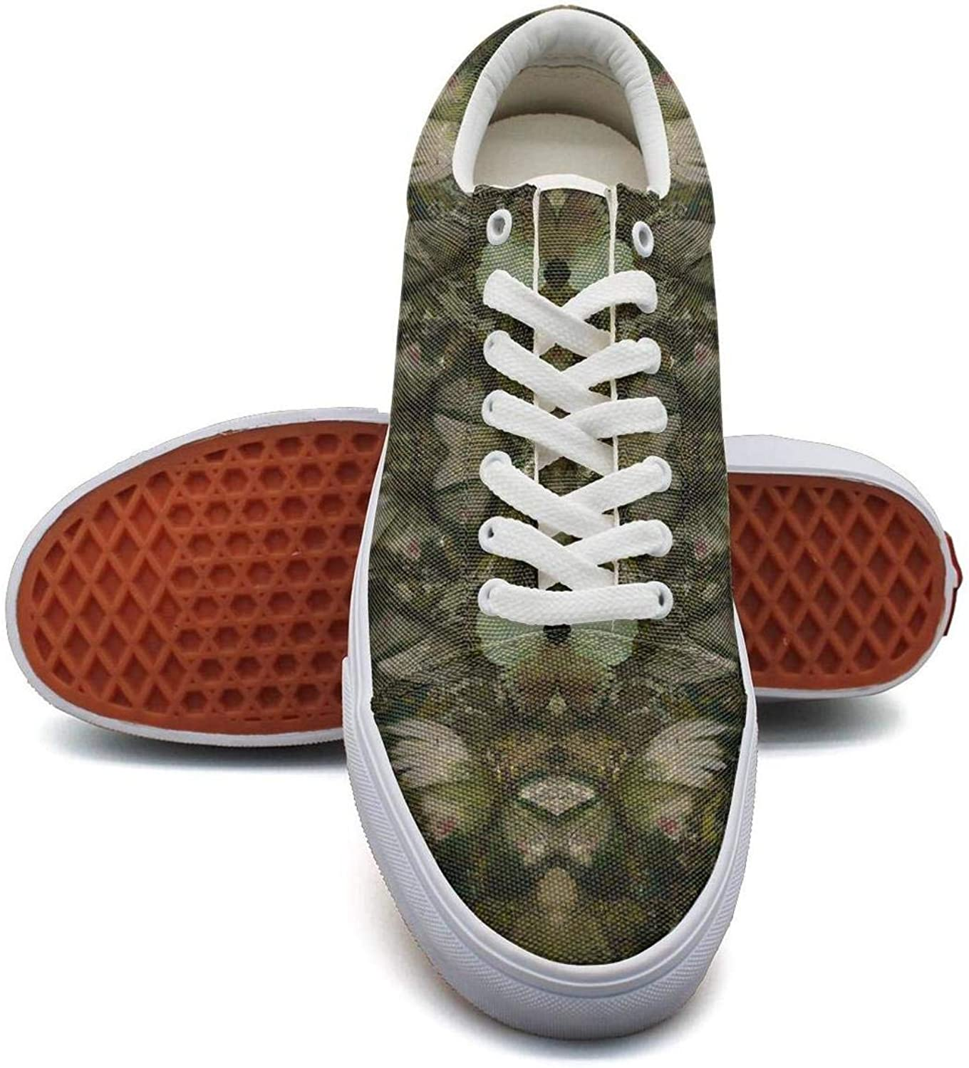 Wuixkas Camouflage Butterfly Army Womens Canvas Upper Sneakers Lace Up Popular Fashion Loafer Canvas shoes